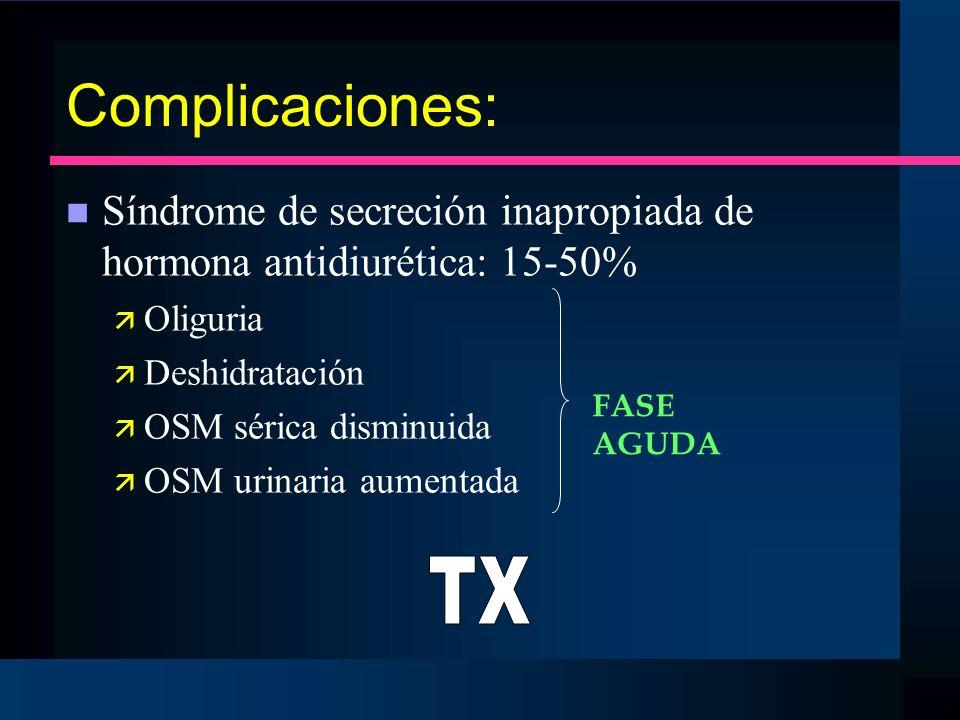 Complicaciones: n Síndrome de secreción inapropiada de hormona antidiurética: 15-50% ä Oliguria ä Deshidratación ä OSM sérica disminuida ä OSM urinari