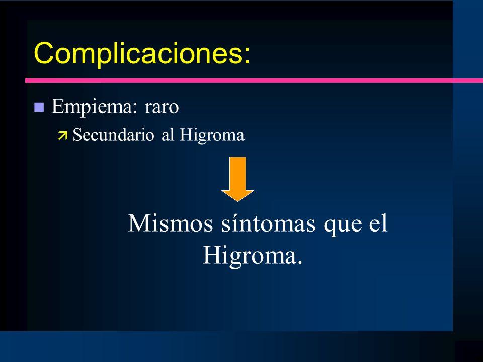 Complicaciones: n Empiema: raro ä Secundario al Higroma Mismos síntomas que el Higroma.