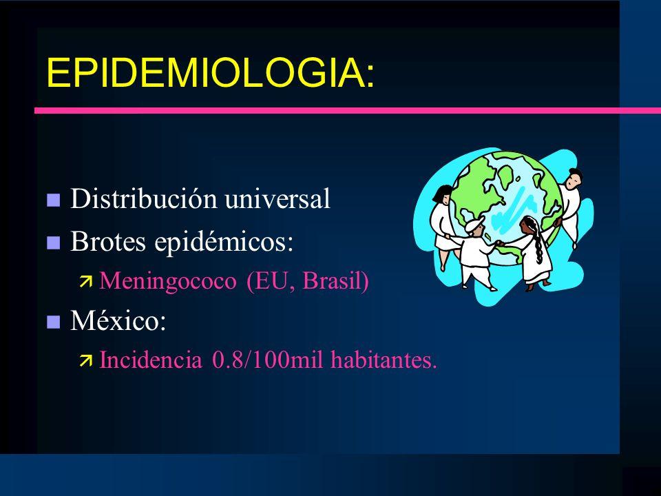 EPIDEMIOLOGIA: n Distribución universal n Brotes epidémicos: ä Meningococo (EU, Brasil) n México: ä Incidencia 0.8/100mil habitantes.