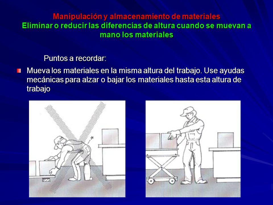 Manipulación y almacenamiento de materiales Eliminar o reducir las diferencias de altura cuando se muevan a mano los materiales Puntos a recordar: Mueva los materiales en la misma altura del trabajo.