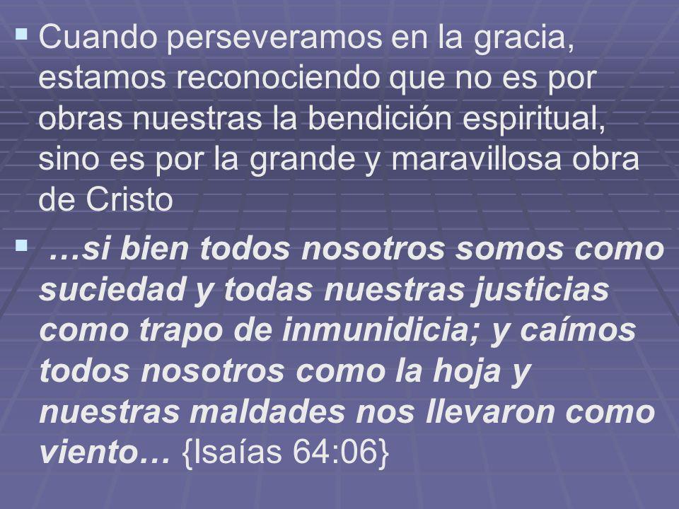 Cuando perseveramos en la gracia, estamos reconociendo que no es por obras nuestras la bendición espiritual, sino es por la grande y maravillosa obra