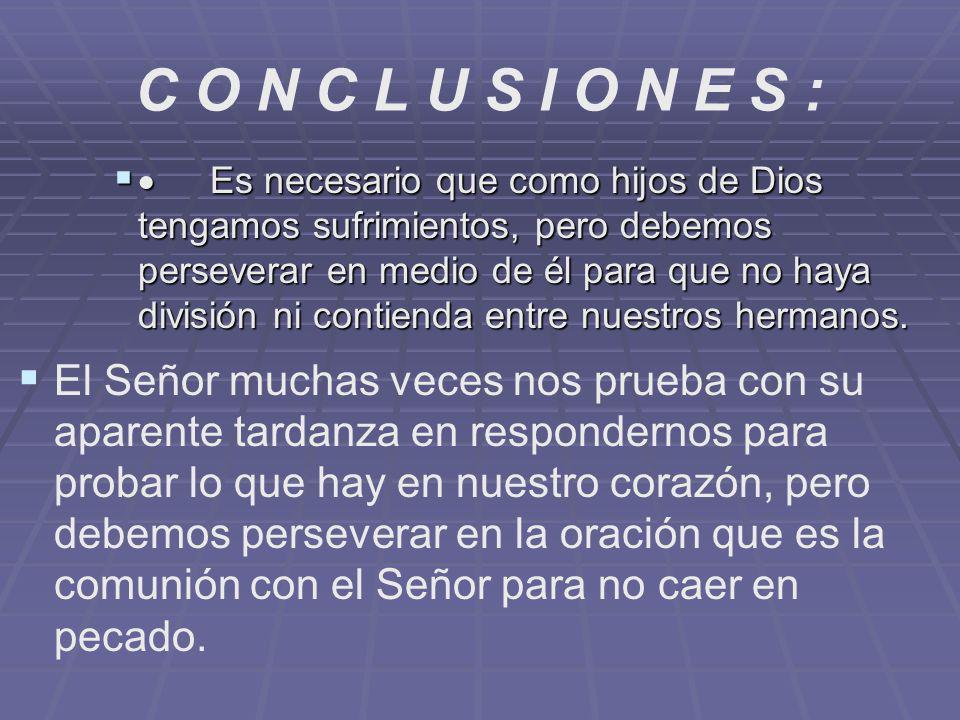 C O N C L U S I O N E S : Es necesario que como hijos de Dios tengamos sufrimientos, pero debemos perseverar en medio de él para que no haya división
