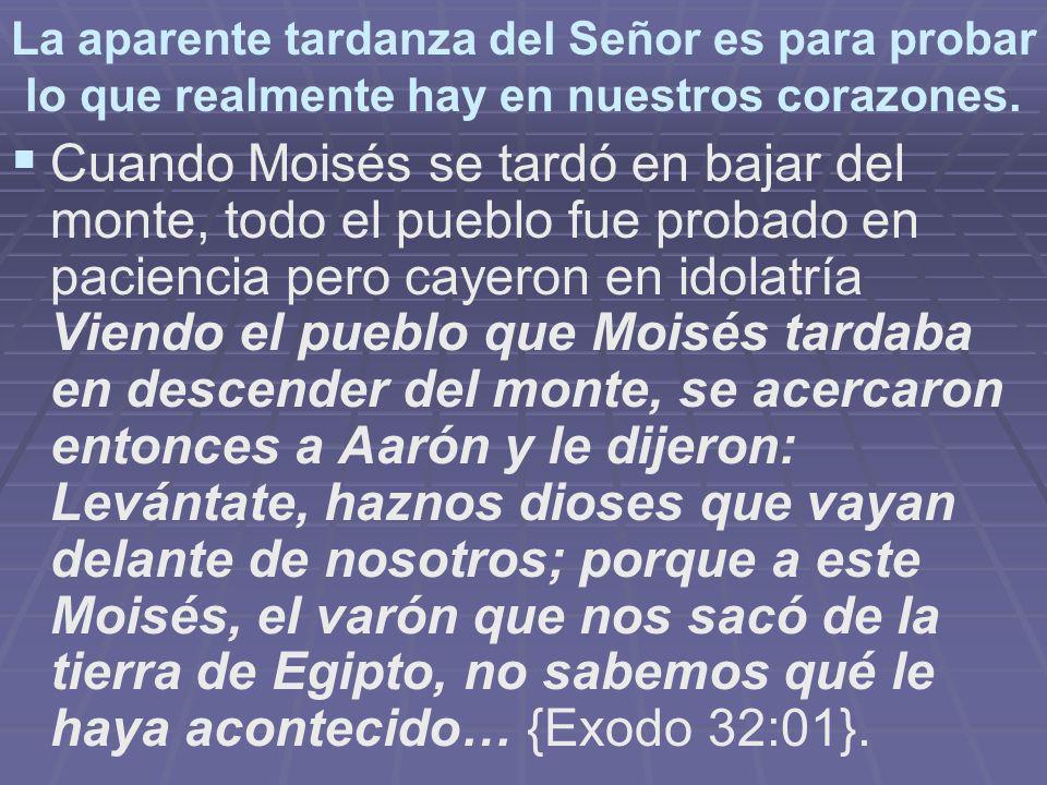 La aparente tardanza del Señor es para probar lo que realmente hay en nuestros corazones. Cuando Moisés se tardó en bajar del monte, todo el pueblo fu