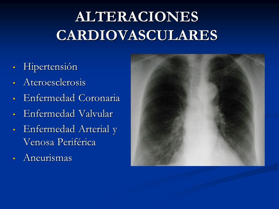 ALTERACIONES CARDIOVASCULARES Hipertensión Hipertensión Ateroesclerosis Ateroesclerosis Enfermedad Coronaria Enfermedad Coronaria Enfermedad Valvular