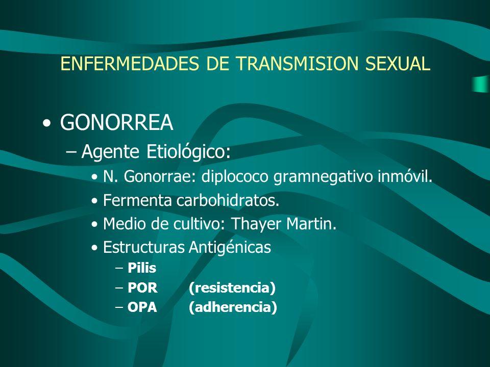 ENFERMEDADES DE TRANSMISION SEXUAL GONORREA –Agente Etiológico: N. Gonorrae: diplococo gramnegativo inmóvil. Fermenta carbohidratos. Medio de cultivo:
