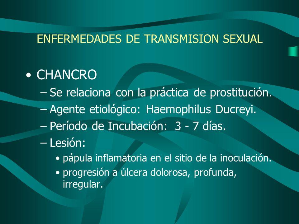 ENFERMEDADES DE TRANSMISION SEXUAL CHANCRO –Se relaciona con la práctica de prostitución. –Agente etiológico: Haemophilus Ducreyi. –Período de Incubac