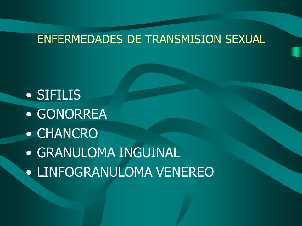 ENFERMEDADES DE TRANSMISION SEXUAL SIFILIS GONORREA CHANCRO GRANULOMA INGUINAL LINFOGRANULOMA VENEREO