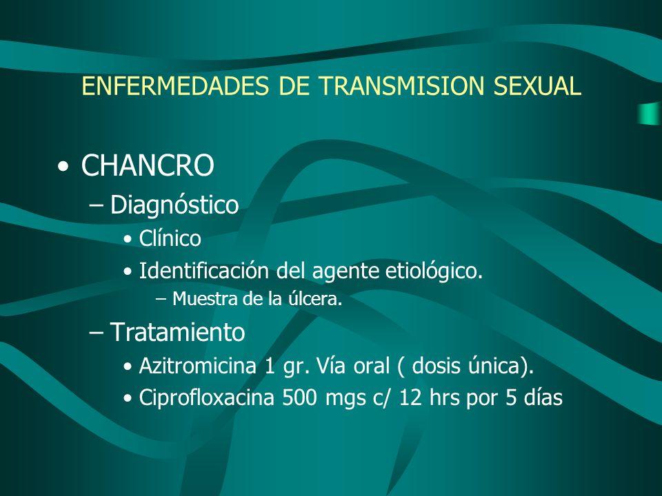 CHANCRO –Diagnóstico Clínico Identificación del agente etiológico. –Muestra de la úlcera. –Tratamiento Azitromicina 1 gr. Vía oral ( dosis única). Cip