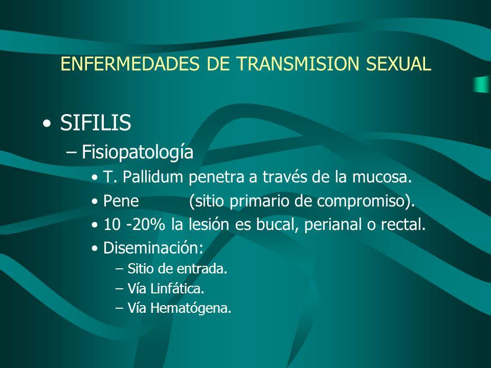 ENFERMEDADES DE TRANSMISION SEXUAL SIFILIS –Fisiopatología T. Pallidum penetra a través de la mucosa. Pene(sitio primario de compromiso). 10 -20% la l