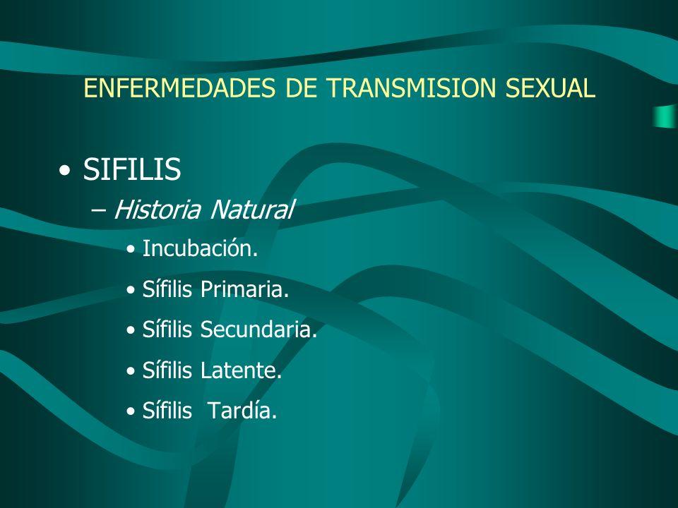 ENFERMEDADES DE TRANSMISION SEXUAL SIFILIS –Historia Natural Incubación. Sífilis Primaria. Sífilis Secundaria. Sífilis Latente. Sífilis Tardía.