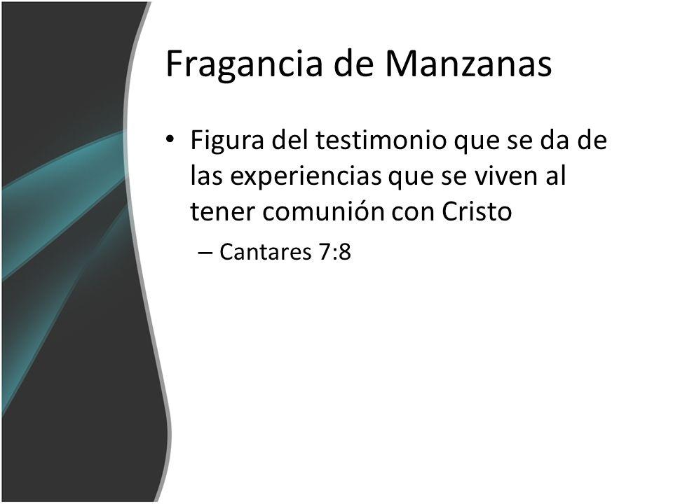 Fragancia de Manzanas Figura del testimonio que se da de las experiencias que se viven al tener comunión con Cristo – Cantares 7:8