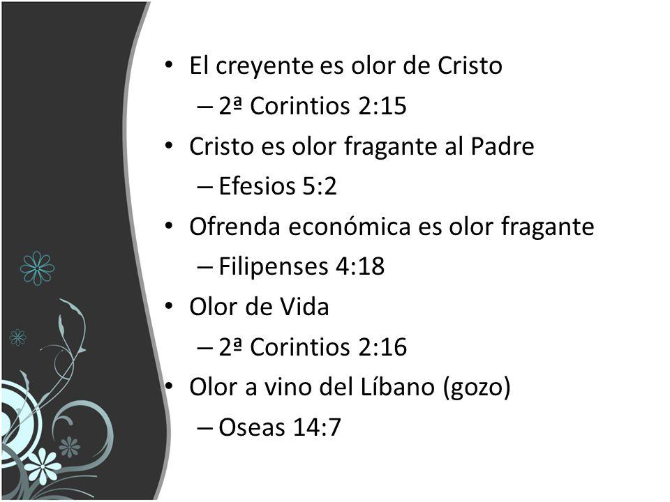 El creyente es olor de Cristo – 2ª Corintios 2:15 Cristo es olor fragante al Padre – Efesios 5:2 Ofrenda económica es olor fragante – Filipenses 4:18