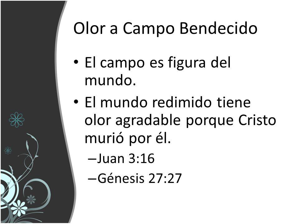 Olor a Campo Bendecido El campo es figura del mundo. El mundo redimido tiene olor agradable porque Cristo murió por él. – Juan 3:16 – Génesis 27:27