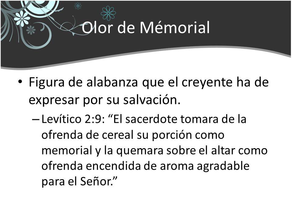Olor de Mémorial Figura de alabanza que el creyente ha de expresar por su salvación. – Levítico 2:9: El sacerdote tomara de la ofrenda de cereal su po