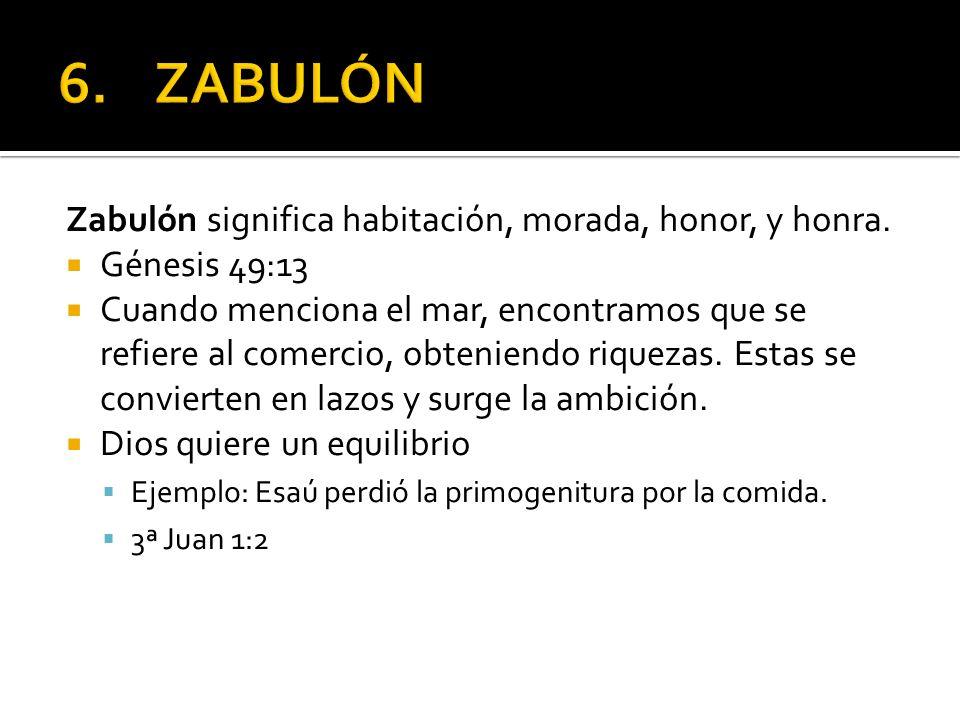 Zabulón significa habitación, morada, honor, y honra. Génesis 49:13 Cuando menciona el mar, encontramos que se refiere al comercio, obteniendo riqueza