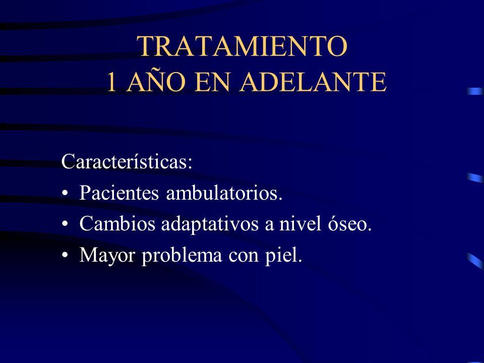 TRATAMIENTO 1 AÑO EN ADELANTE Características: Pacientes ambulatorios. Cambios adaptativos a nivel óseo. Mayor problema con piel.