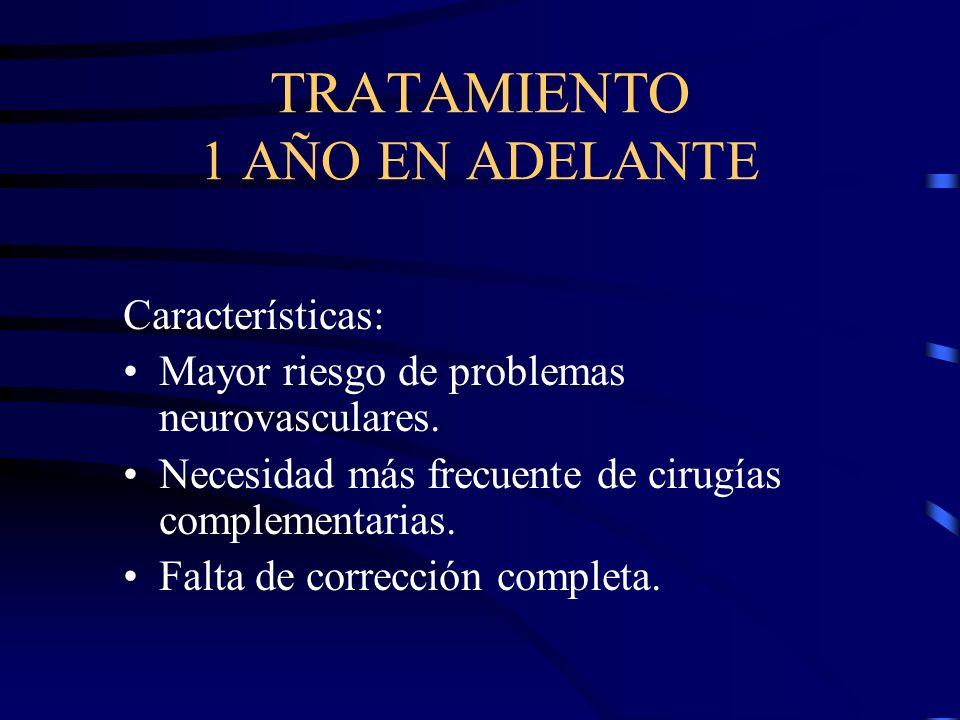 TRATAMIENTO 1 AÑO EN ADELANTE Características: Mayor riesgo de problemas neurovasculares. Necesidad más frecuente de cirugías complementarias. Falta d