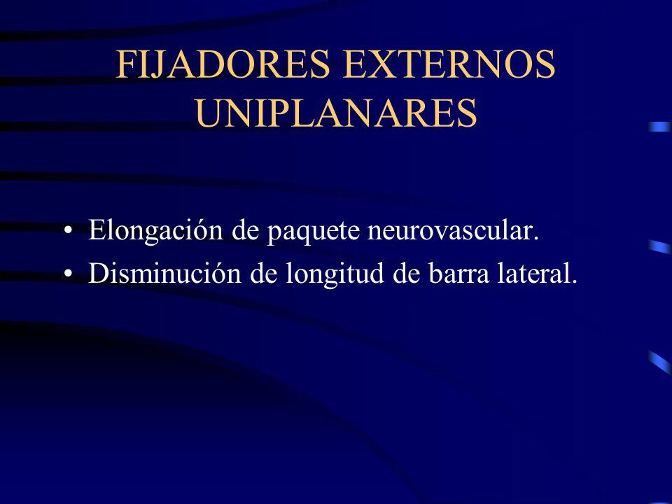 FIJADORES EXTERNOS UNIPLANARES Elongación de paquete neurovascular. Disminución de longitud de barra lateral.