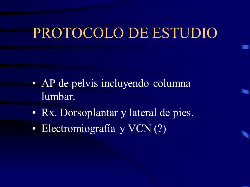 PROTOCOLO DE ESTUDIO AP de pelvis incluyendo columna lumbar. Rx. Dorsoplantar y lateral de pies. Electromiografía y VCN (?)