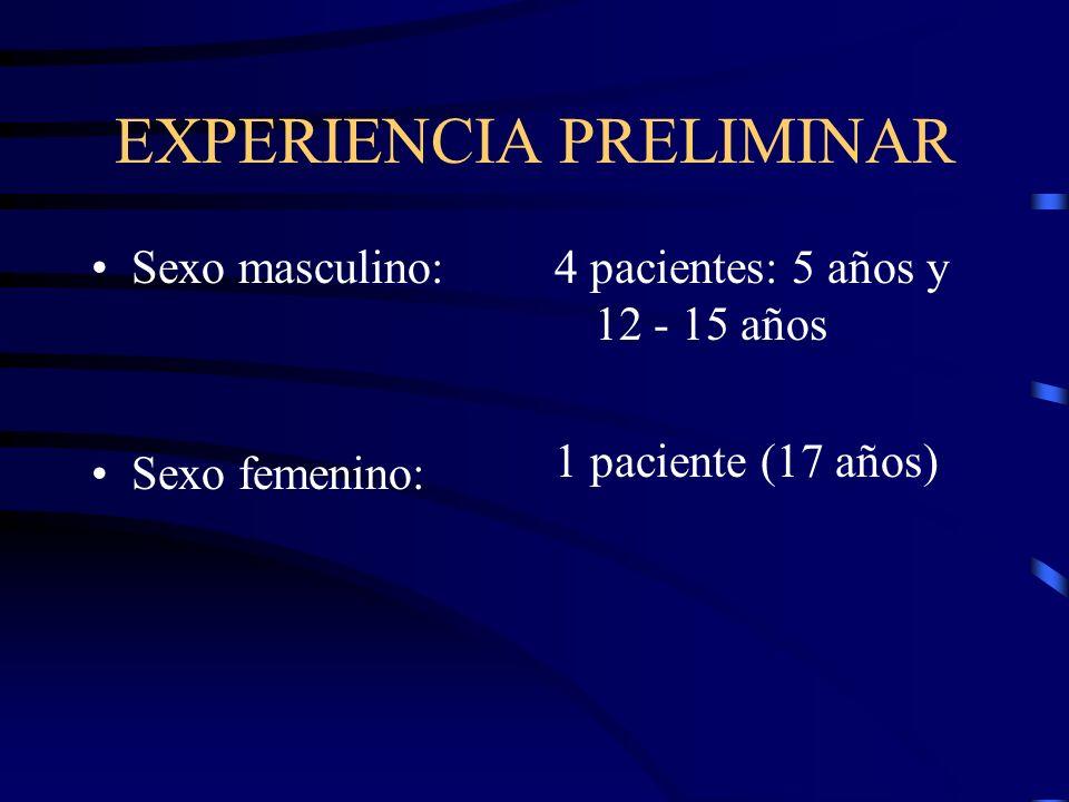 EXPERIENCIA PRELIMINAR Sexo masculino: Sexo femenino: 4 pacientes: 5 años y 12 - 15 años 1 paciente (17 años)