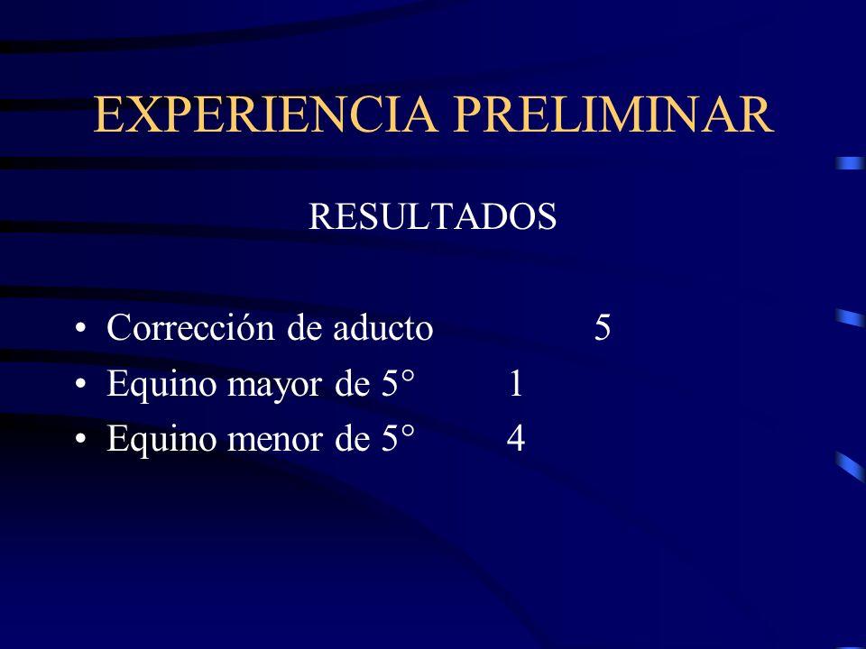 EXPERIENCIA PRELIMINAR RESULTADOS Corrección de aducto5 Equino mayor de 5°1 Equino menor de 5°4