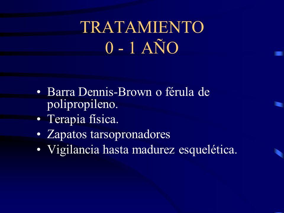 TRATAMIENTO 0 - 1 AÑO Barra Dennis-Brown o férula de polipropileno. Terapia física. Zapatos tarsopronadores Vigilancia hasta madurez esquelética.