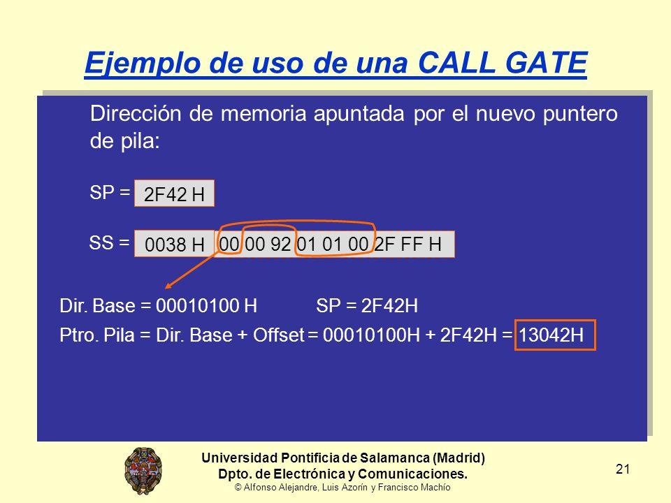 21 Ejemplo de uso de una CALL GATE Dirección de memoria apuntada por el nuevo puntero de pila: 00 00 92 01 01 00 2F FF H Universidad Pontificia de Salamanca (Madrid) Dpto.