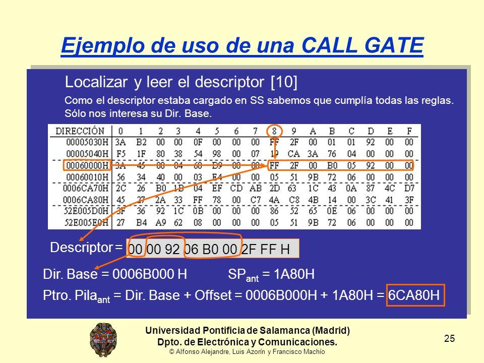 25 Ejemplo de uso de una CALL GATE Localizar y leer el descriptor [10] Como el descriptor estaba cargado en SS sabemos que cumplía todas las reglas.
