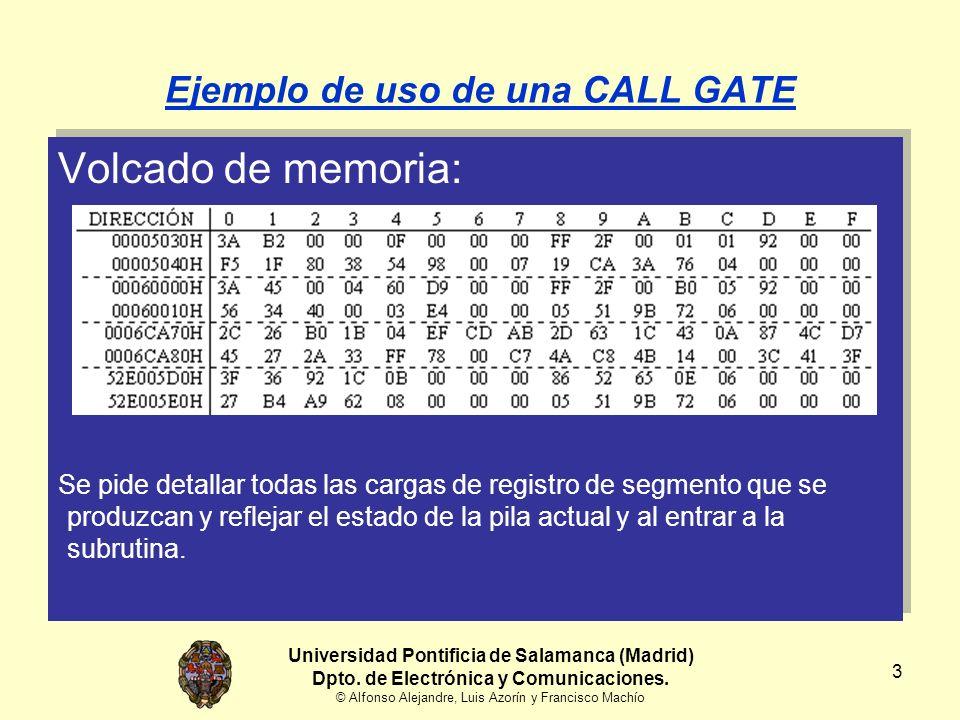 14 Ejemplo de uso de una CALL GATE Localizar y leer un descriptor [10] Tipo = Segm.Código Descriptor = 07 00 98 54 38 80 1F F5 H C = 0 (No conforme) R = 0 (No legible) A = 0 (Accedido) Universidad Pontificia de Salamanca (Madrid) Dpto.