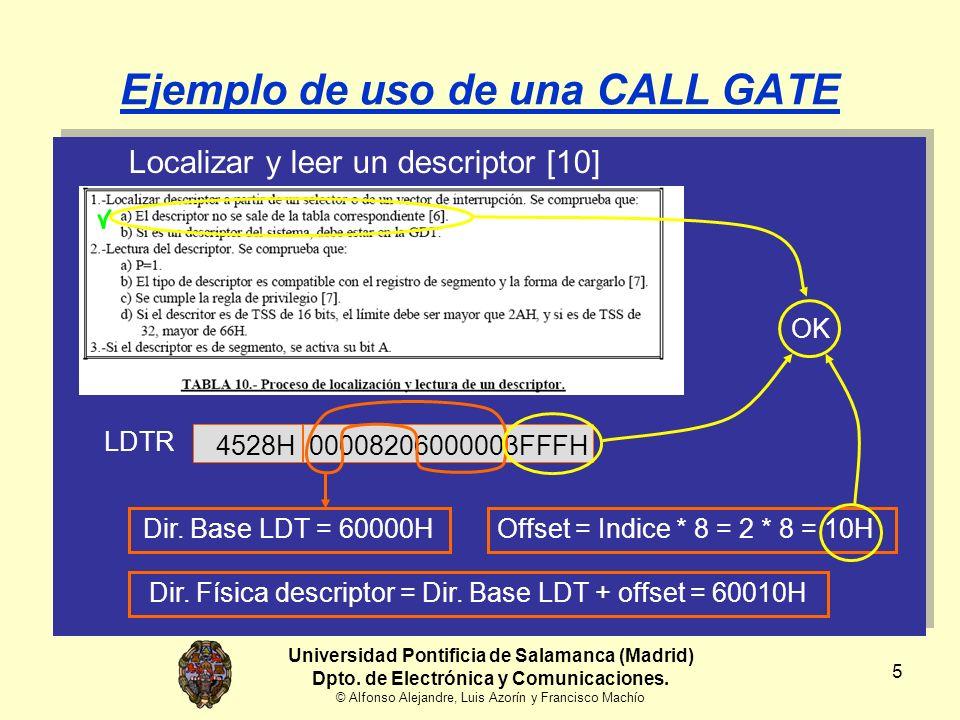 5 Ejemplo de uso de una CALL GATE Localizar y leer un descriptor [10] Offset = Indice * 8 = 2 * 8 = 10H 4528H LDTR 00008206000003FFFH Dir.