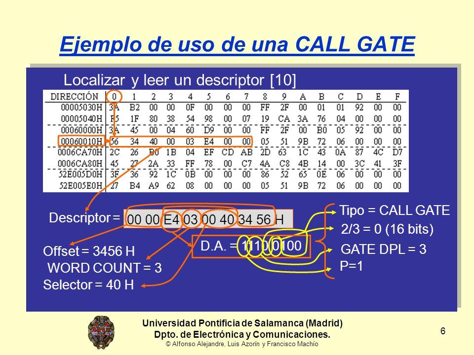 7 Ejemplo de uso de una CALL GATE Localizar y leer un descriptor [10] Tipo = CALL GATE Descriptor = 00 00 E4 03 00 40 34 56 H Offset = 3456 H D.A.
