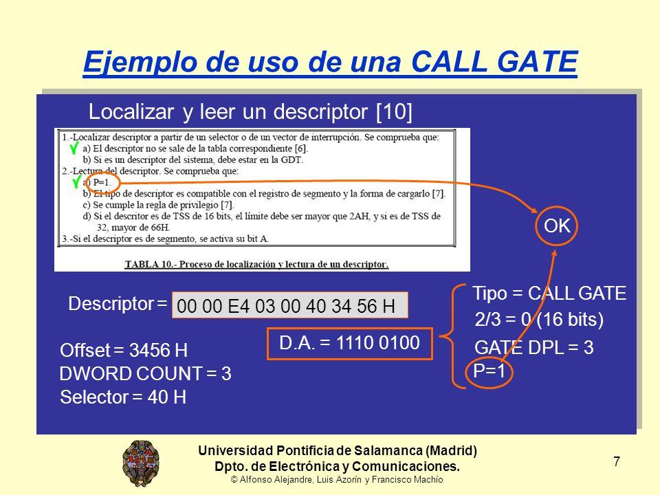 8 Ejemplo de uso de una CALL GATE Localizar y leer un descriptor [10] Tipo = CALL GATEDescriptor = 00 00 E4 03 00 40 34 56 H 2/3 = 0 (16 bits) GATE DPL = 3 P=1 OK EPL = MAX (CPL, RPL) EPL = MAX (2, 3) EPL = 3 CALL 0017:1234HCS = 6 Universidad Pontificia de Salamanca (Madrid) Dpto.