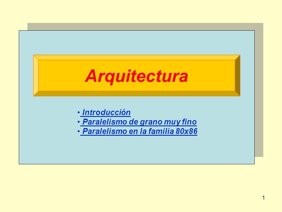 1 Arquitectura Introducción Paralelismo de grano muy fino Paralelismo en la familia 80x86
