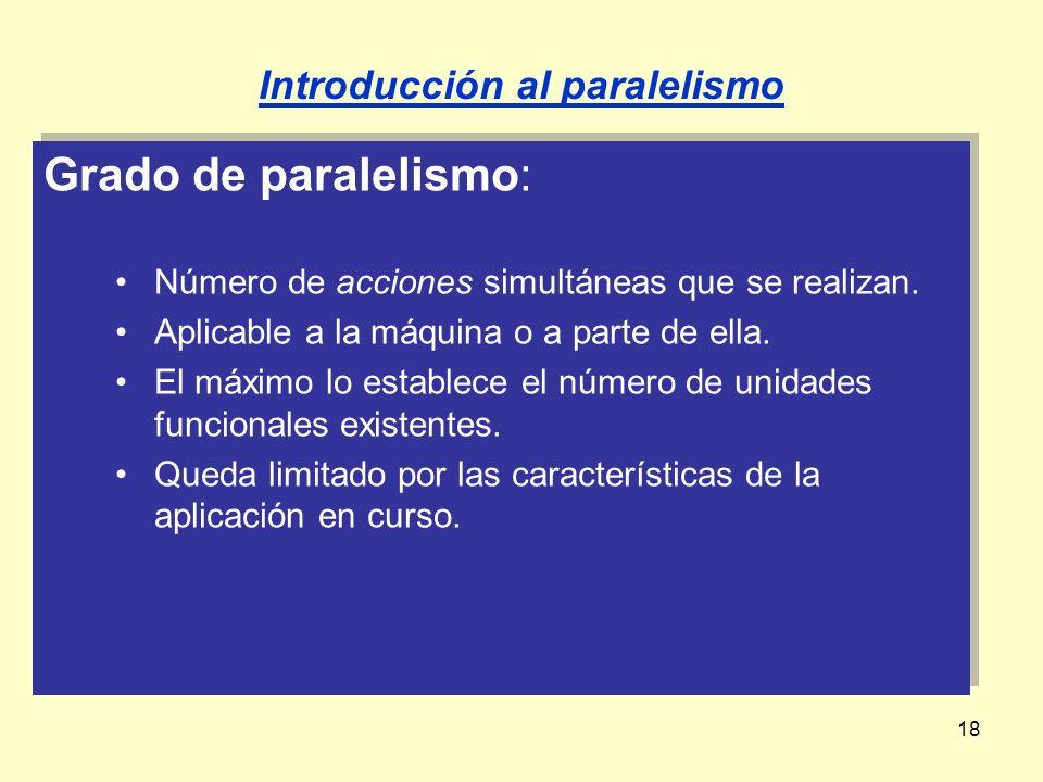 18 Grado de paralelismo: Número de acciones simultáneas que se realizan. Aplicable a la máquina o a parte de ella. El máximo lo establece el número de