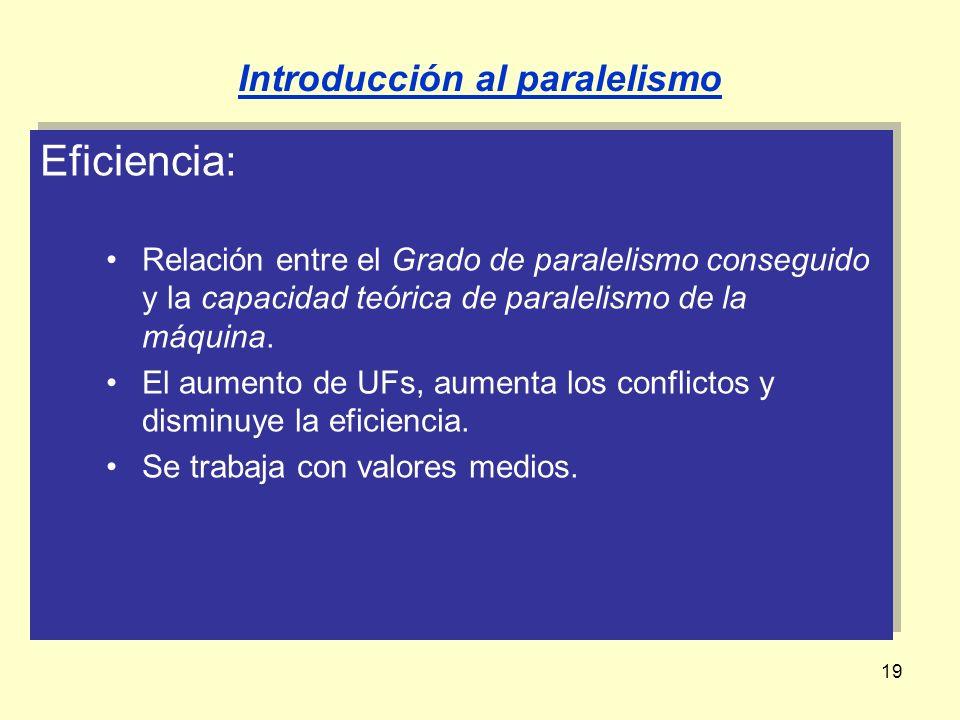 19 Eficiencia: Relación entre el Grado de paralelismo conseguido y la capacidad teórica de paralelismo de la máquina. El aumento de UFs, aumenta los c