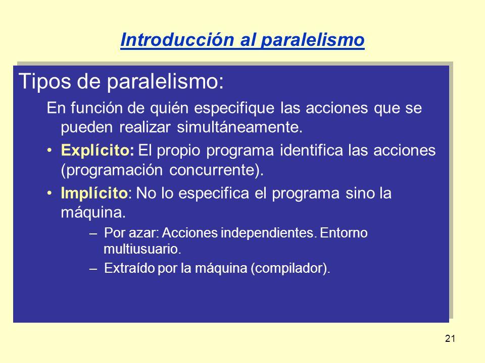 21 Tipos de paralelismo: En función de quién especifique las acciones que se pueden realizar simultáneamente. Explícito: El propio programa identifica