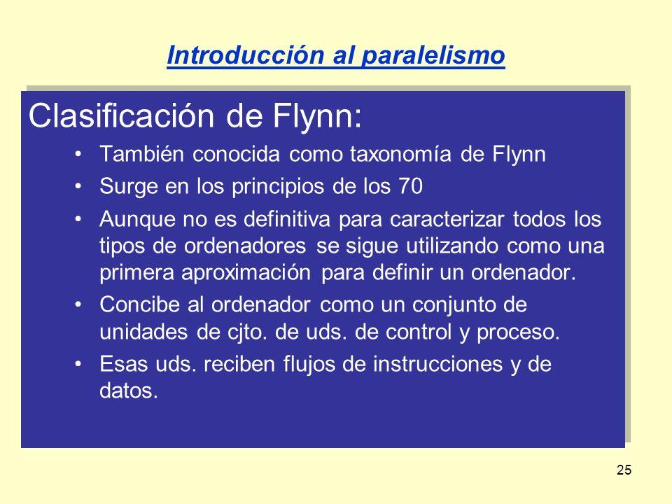 25 Clasificación de Flynn: También conocida como taxonomía de Flynn Surge en los principios de los 70 Aunque no es definitiva para caracterizar todos