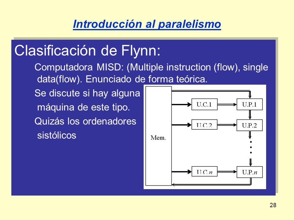 28 Clasificación de Flynn: Computadora MISD: (Multiple instruction (flow), single data(flow). Enunciado de forma teórica. Se discute si hay alguna máq