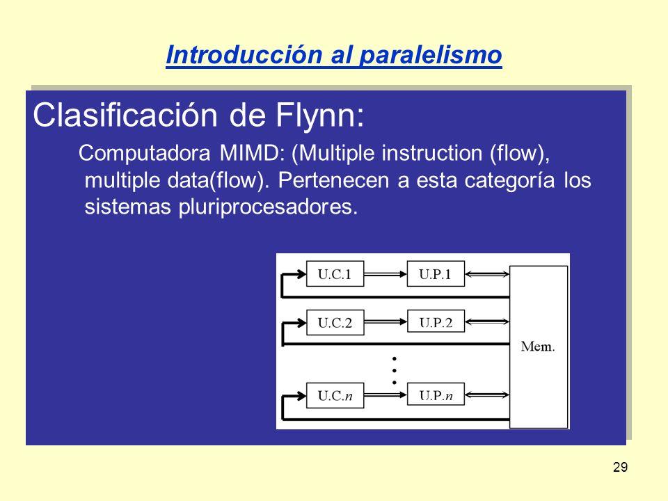 29 Clasificación de Flynn: Computadora MIMD: (Multiple instruction (flow), multiple data(flow). Pertenecen a esta categoría los sistemas pluriprocesad