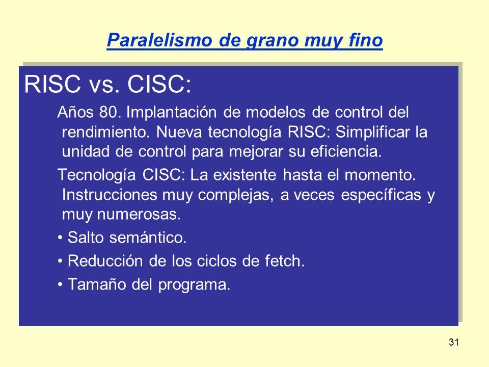 31 RISC vs. CISC: Años 80. Implantación de modelos de control del rendimiento. Nueva tecnología RISC: Simplificar la unidad de control para mejorar su