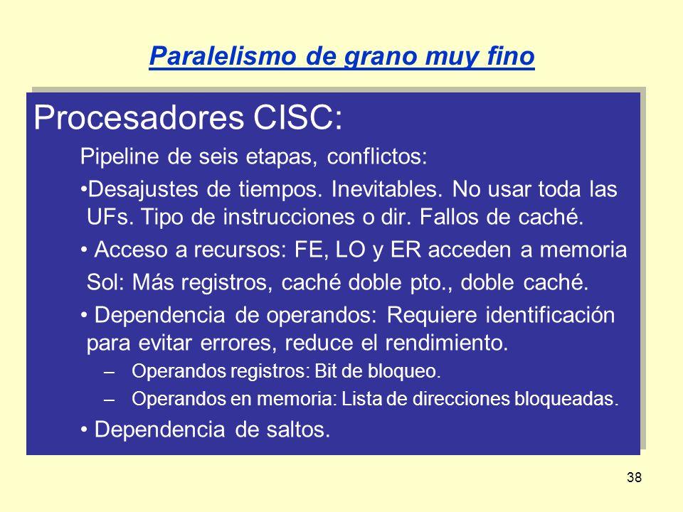 38 Procesadores CISC: Pipeline de seis etapas, conflictos: Desajustes de tiempos. Inevitables. No usar toda las UFs. Tipo de instrucciones o dir. Fall