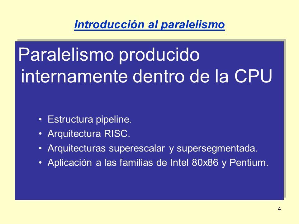 4 Paralelismo producido internamente dentro de la CPU Estructura pipeline. Arquitectura RISC. Arquitecturas superescalar y supersegmentada. Aplicación