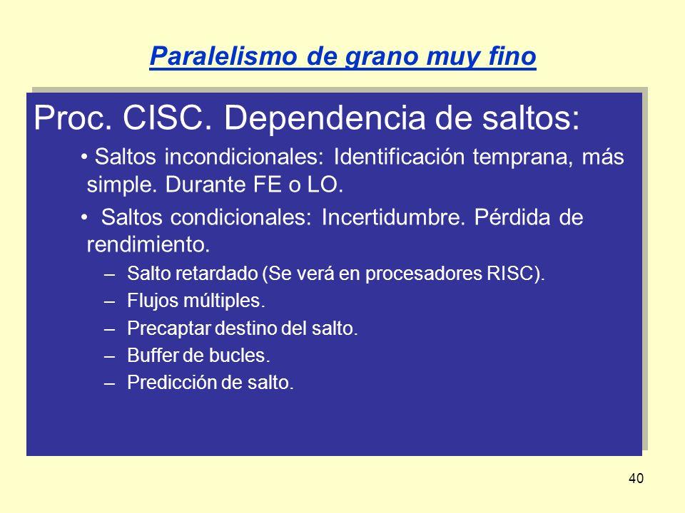 40 Proc. CISC. Dependencia de saltos: Saltos incondicionales: Identificación temprana, más simple. Durante FE o LO. Saltos condicionales: Incertidumbr