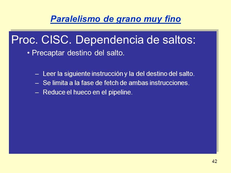 42 Proc. CISC. Dependencia de saltos: Precaptar destino del salto. –Leer la siguiente instrucción y la del destino del salto. –Se limita a la fase de