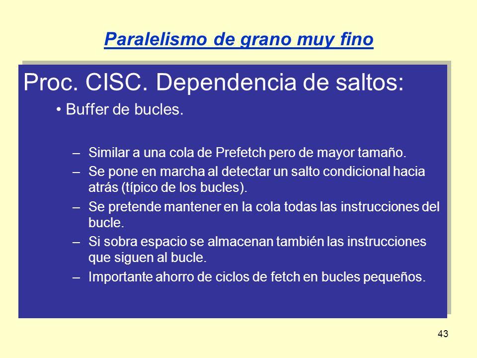 43 Proc. CISC. Dependencia de saltos: Buffer de bucles. –Similar a una cola de Prefetch pero de mayor tamaño. –Se pone en marcha al detectar un salto