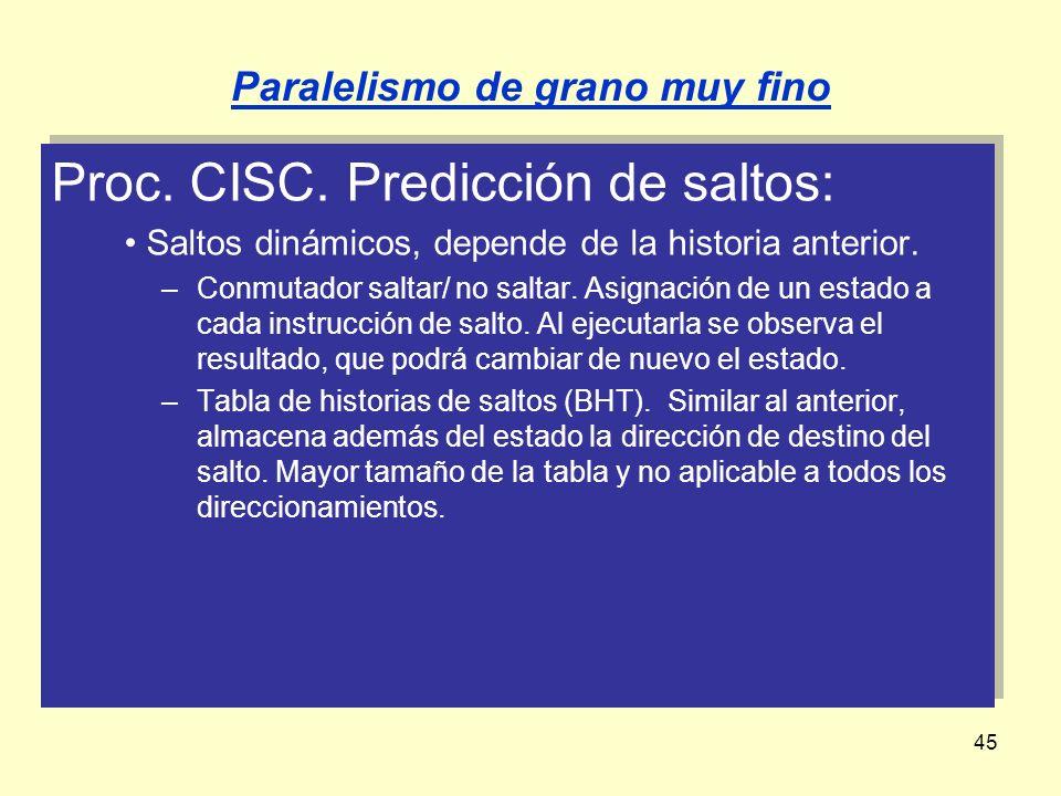 45 Proc. CISC. Predicción de saltos: Saltos dinámicos, depende de la historia anterior. –Conmutador saltar/ no saltar. Asignación de un estado a cada