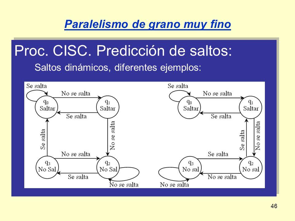 46 Proc. CISC. Predicción de saltos: Saltos dinámicos, diferentes ejemplos: Proc. CISC. Predicción de saltos: Saltos dinámicos, diferentes ejemplos: P