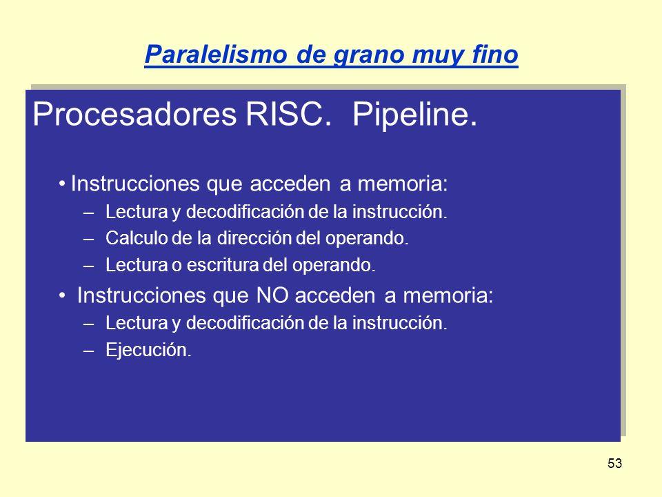 53 Procesadores RISC. Pipeline. Instrucciones que acceden a memoria: –Lectura y decodificación de la instrucción. –Calculo de la dirección del operand