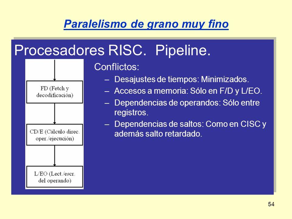 54 Procesadores RISC. Pipeline. Conflictos: –Desajustes de tiempos: Minimizados. –Accesos a memoria: Sólo en F/D y L/EO. –Dependencias de operandos: S