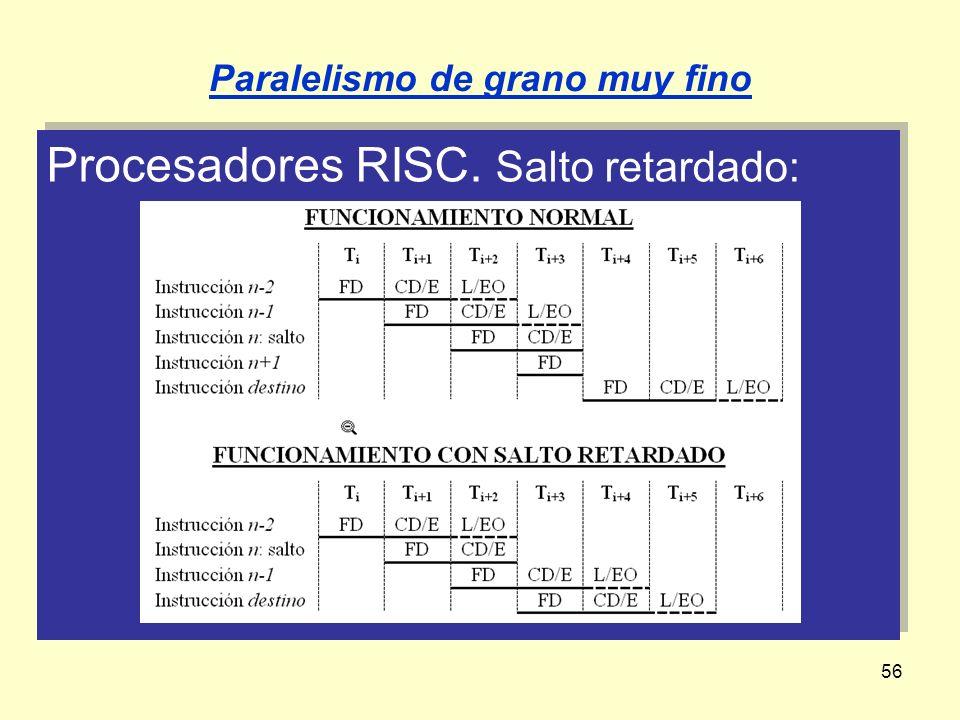 56 Procesadores RISC. Salto retardado: Paralelismo de grano muy fino